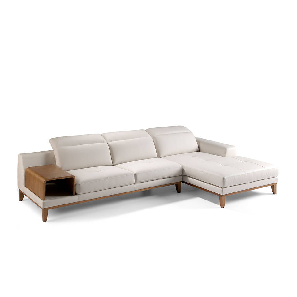 Sofa with chaise longue upholstered in leather and walnut wood legs
