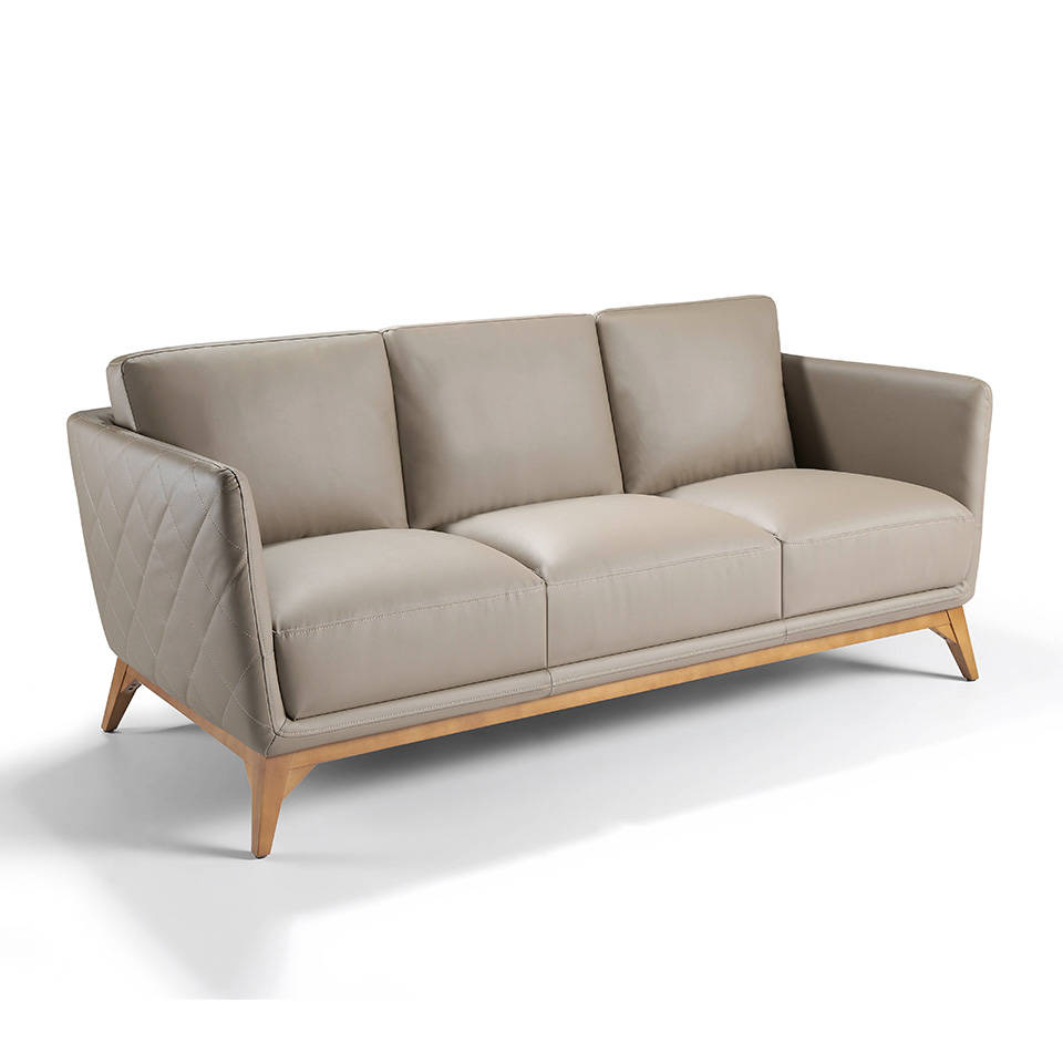 3-seat sofa upholstered in legs with walnut wood legs