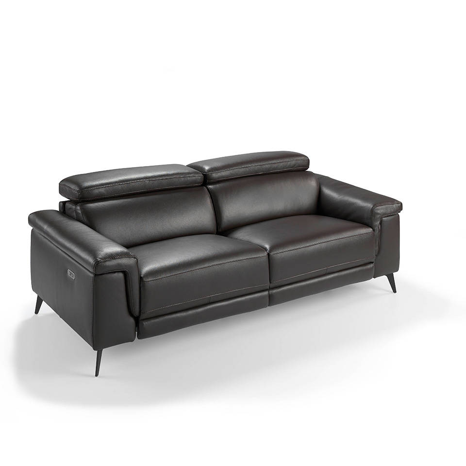 3-seat sofa upholstered in leather with 2 x electric relax mechanisms