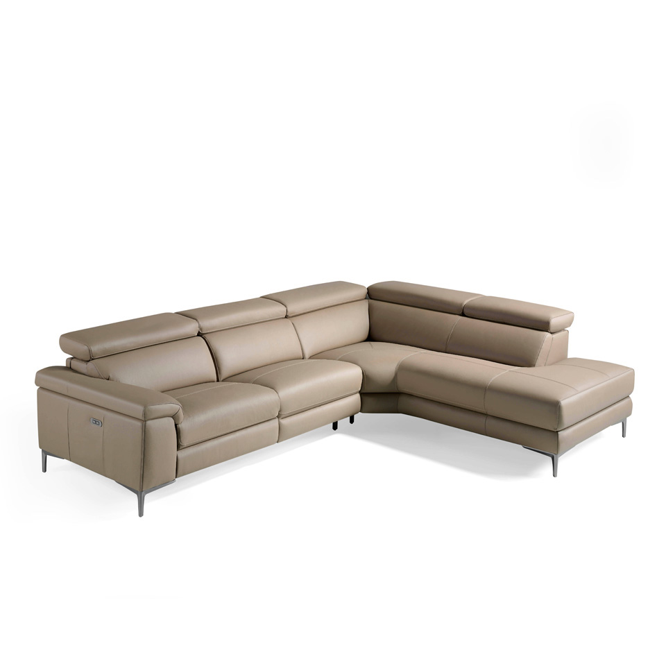 Corner sofa upholstered in leather and stainless steel...