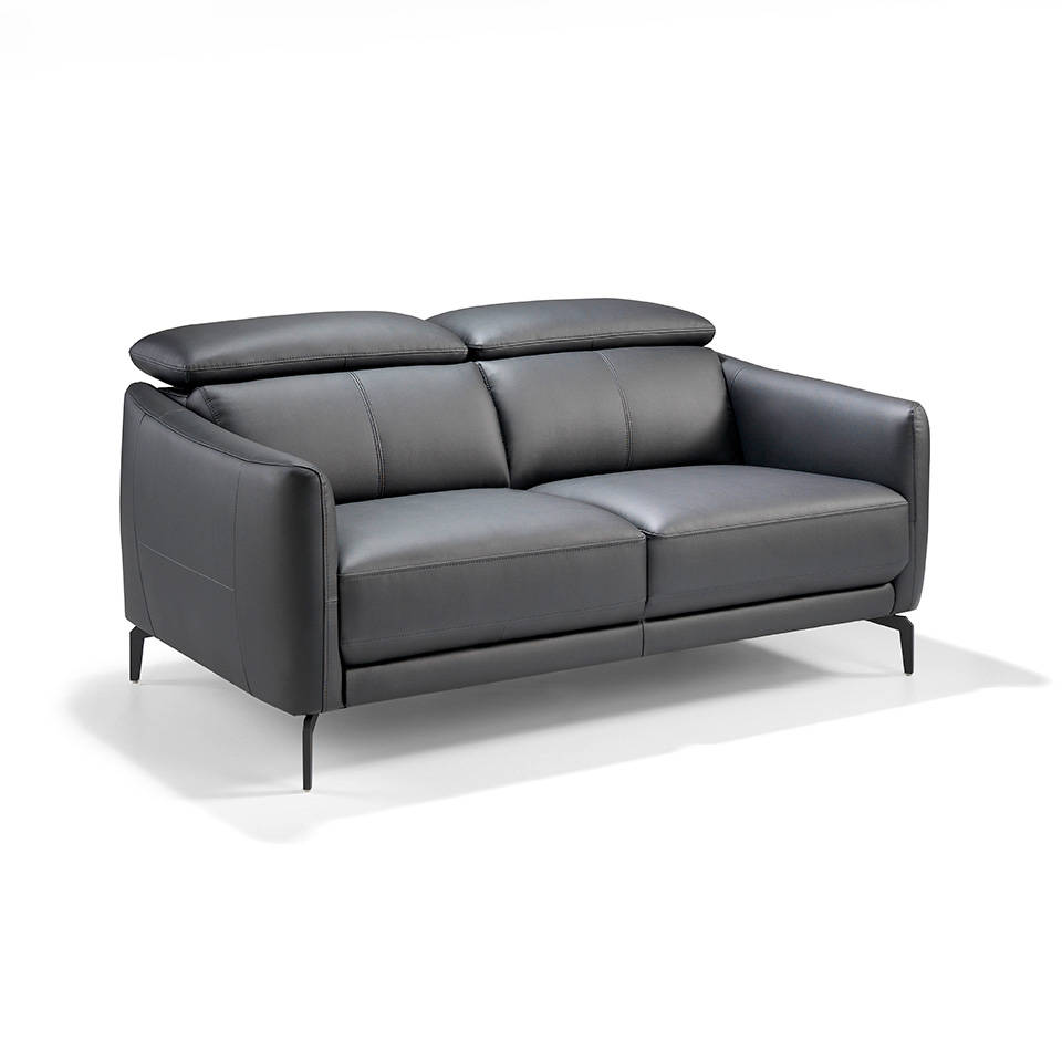 2-seat sofa upholstered in leather with stainless...