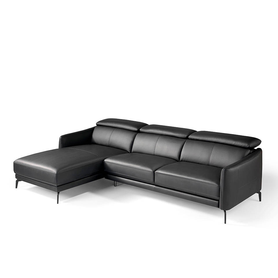 Chaise longue sofa upholstered in leather and stainless steel legs