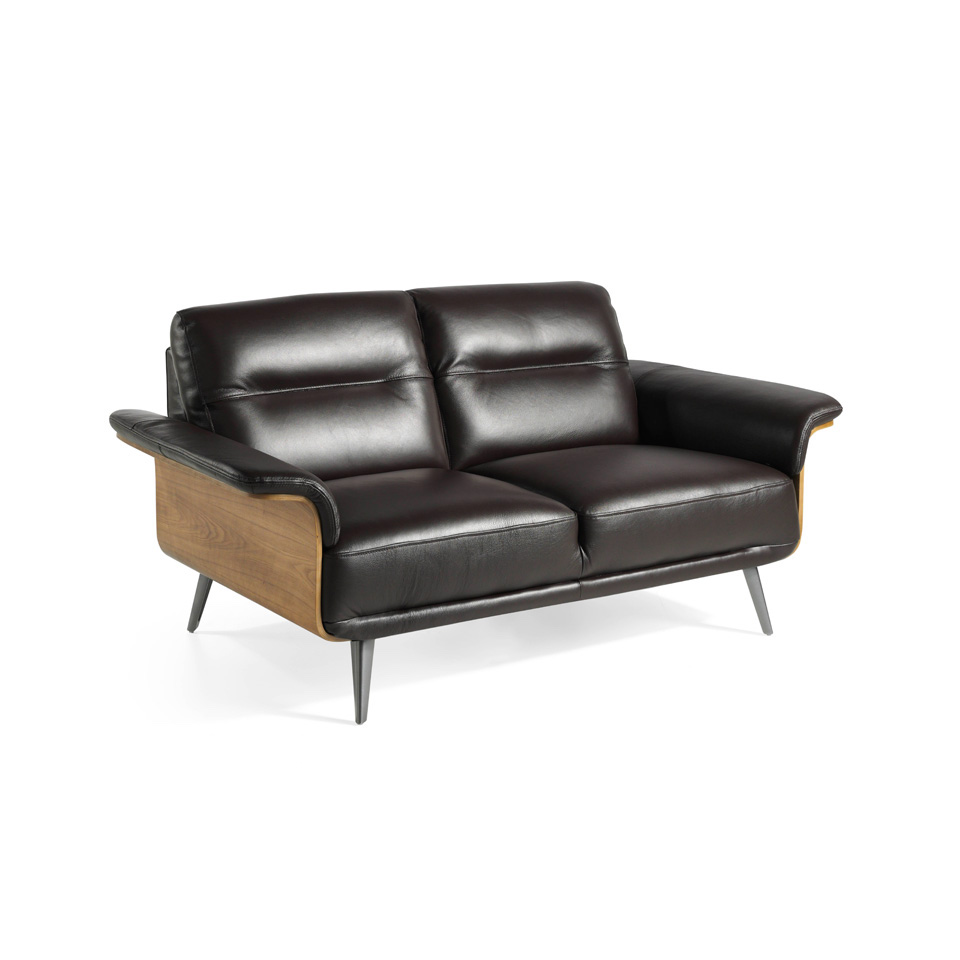 2-seat sofa upholstered in leather with a wooden...