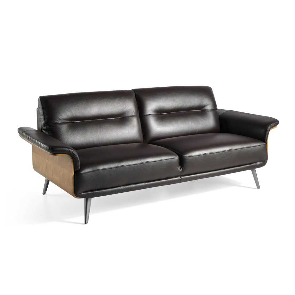 3-seat sofa upholstered in leather with a wooden...