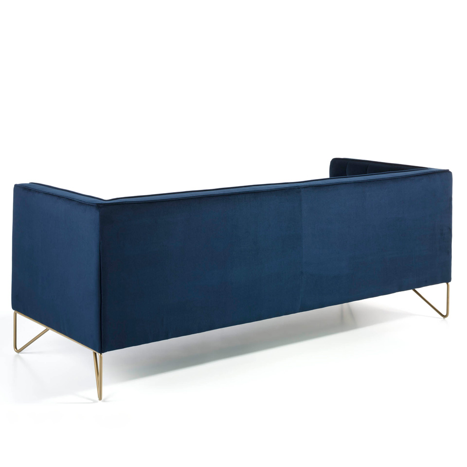 3 seat sofa with stainless steel legs chromed in gold