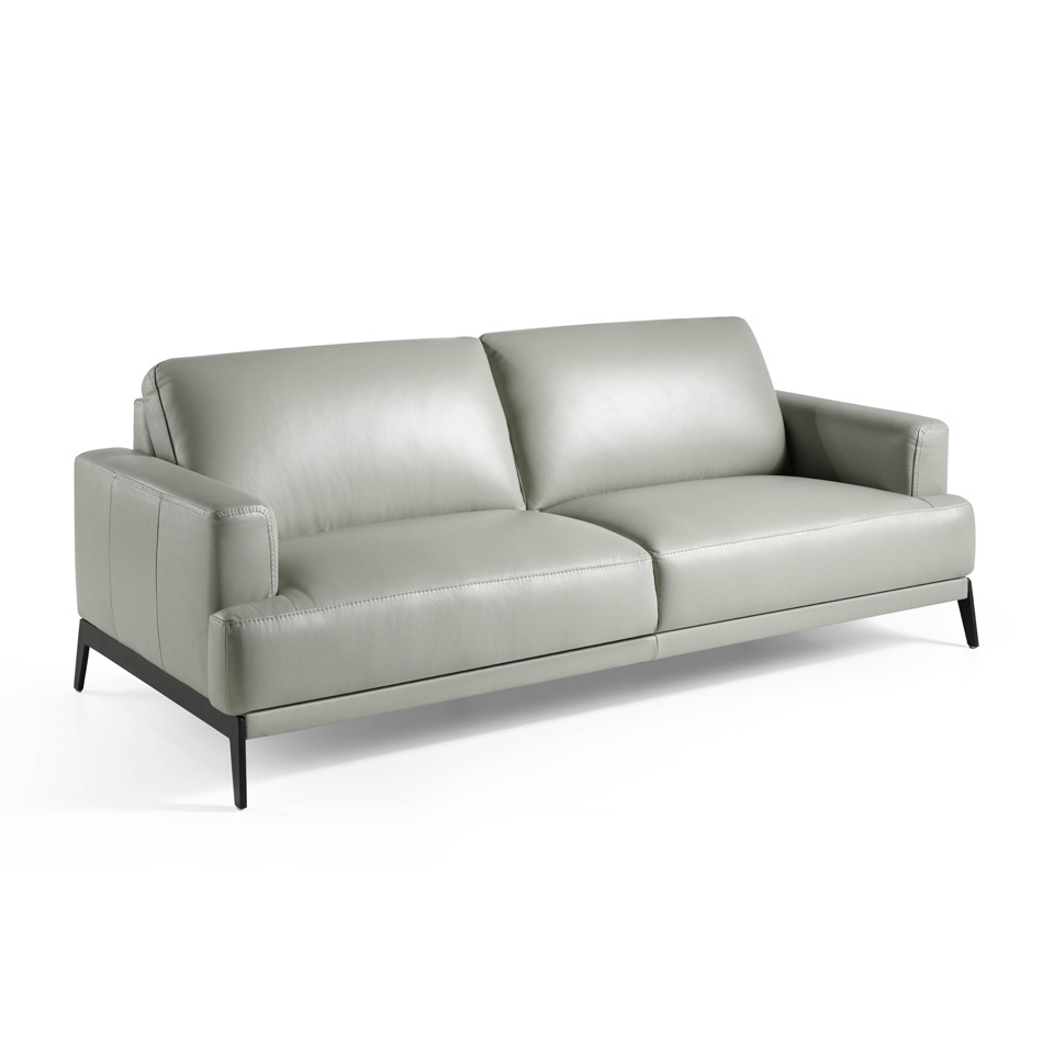 3-seat sofa upholstered leather with stainless steel...