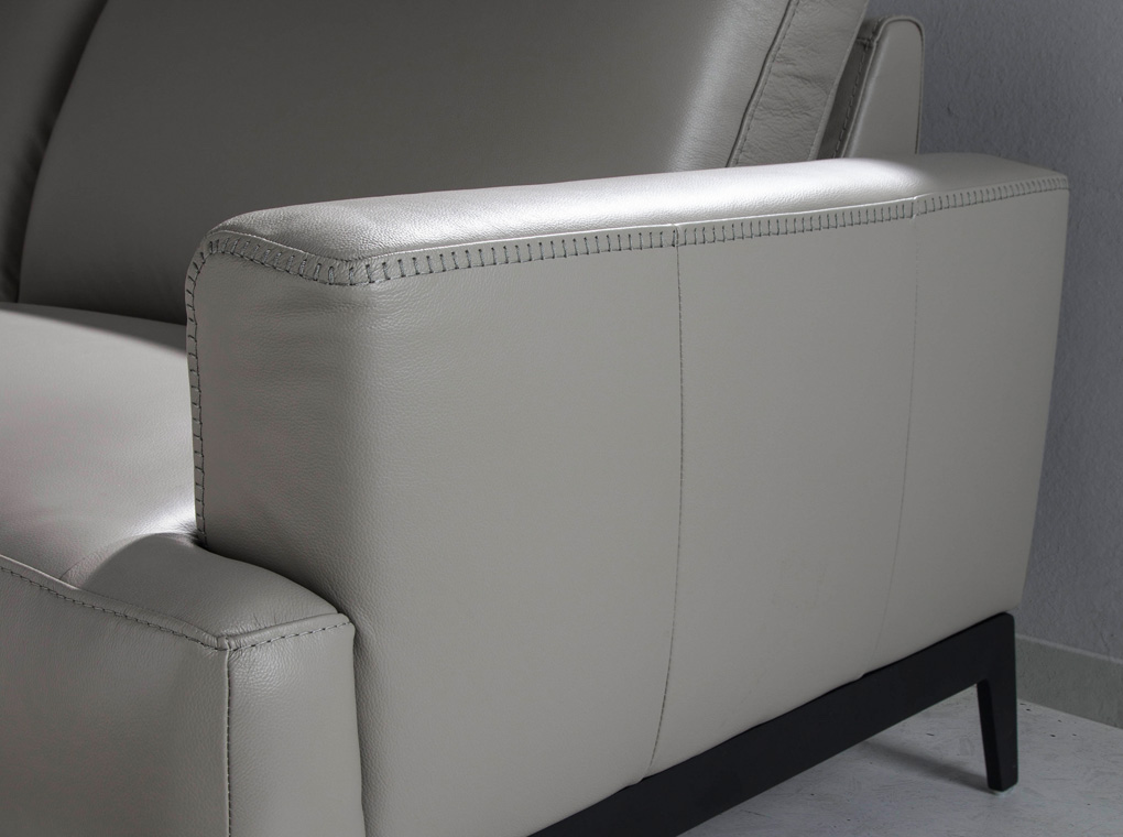 3-seat sofa upholstered leather with stainless steel legs