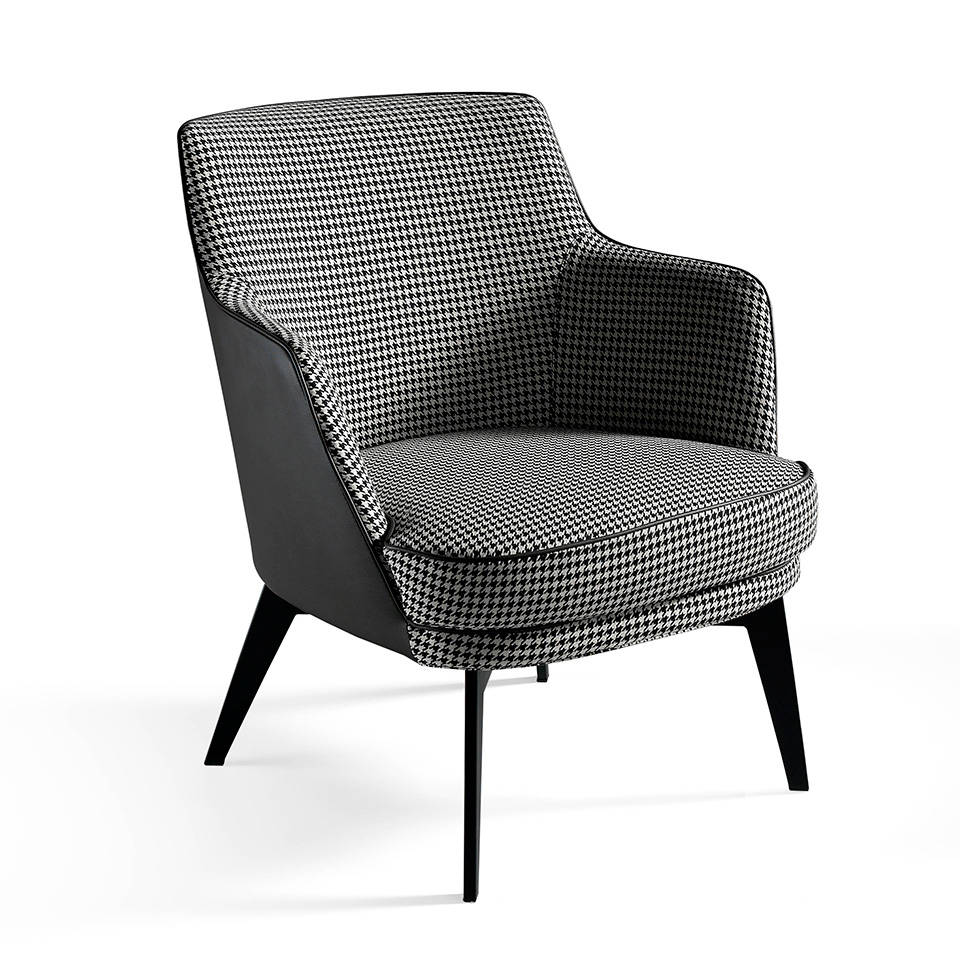 Upholstered armchair with epoxy painted steel structure