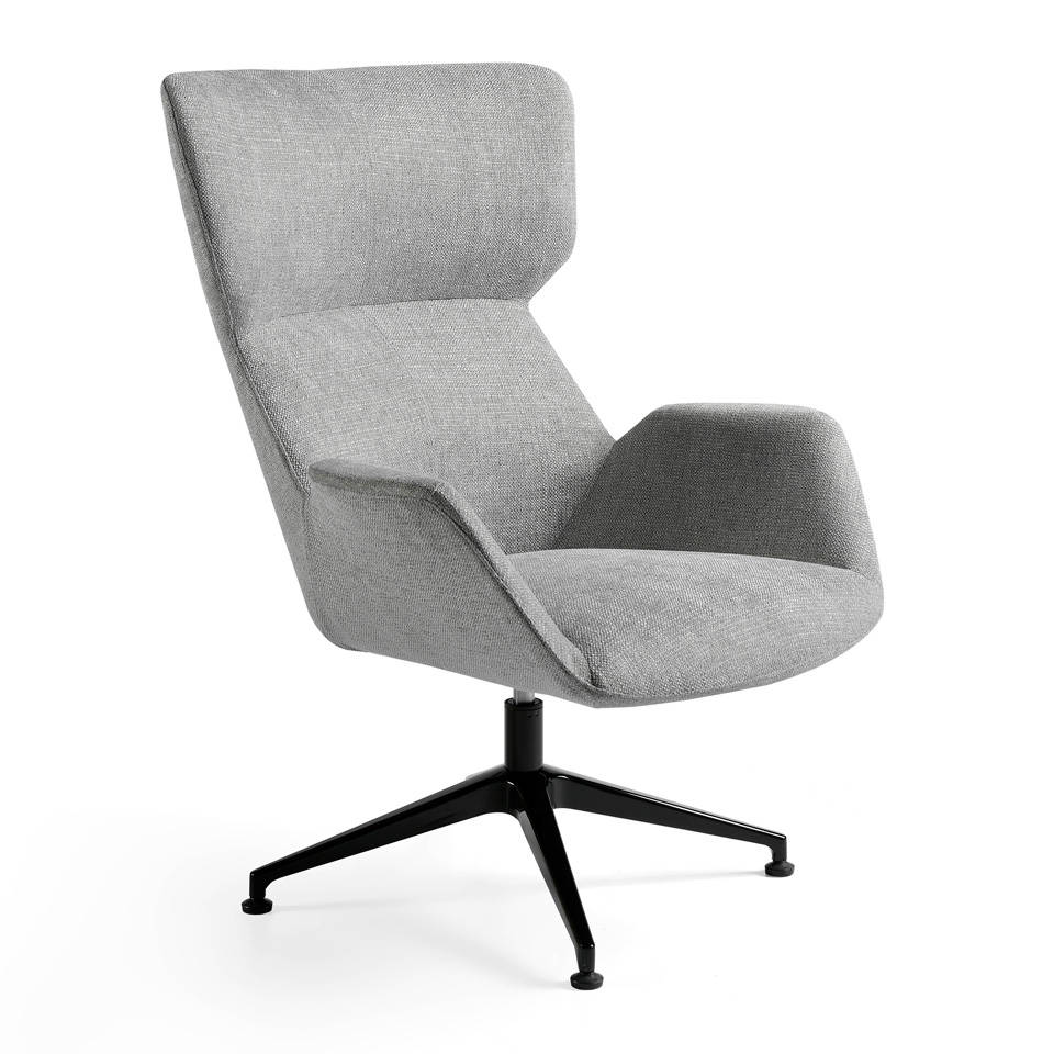 Swivel chair upholstered in fabric with steel structure