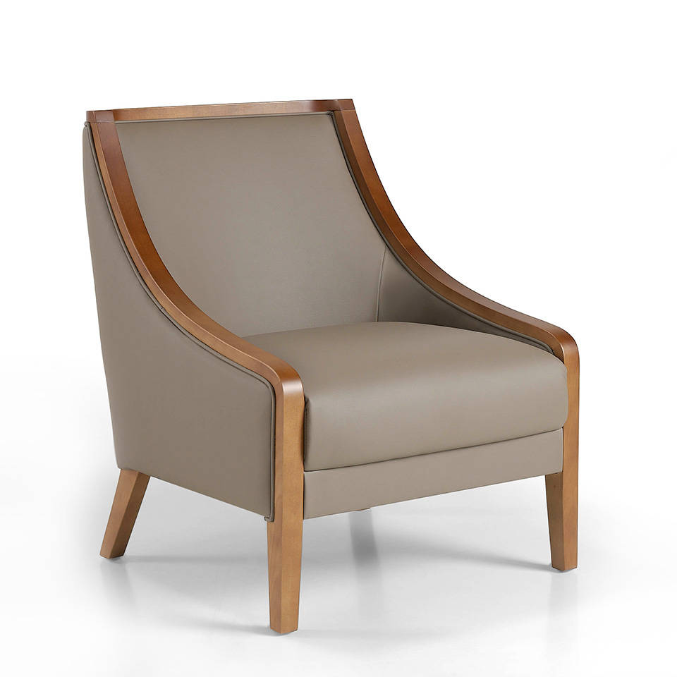 Armchair upholstered in leather with walnut-coloured wooden legs