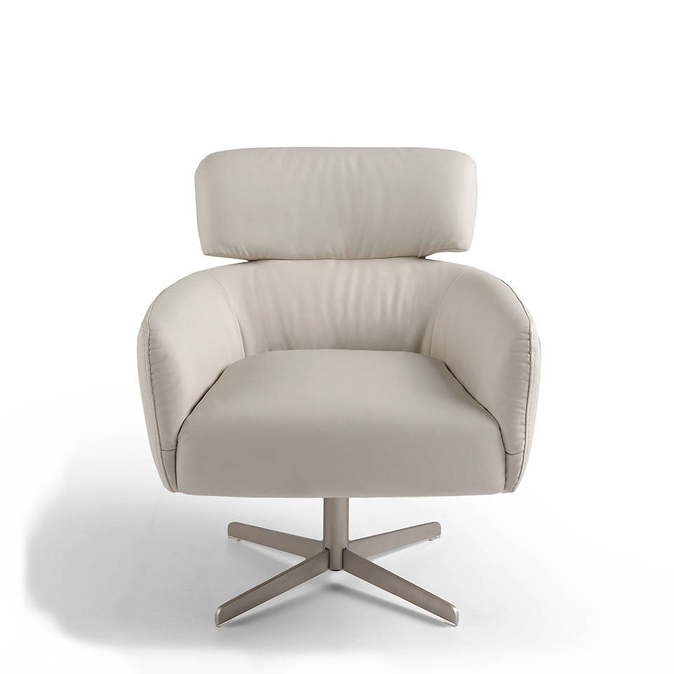 Swivel armchair upholstered in leather with stainless steel legs