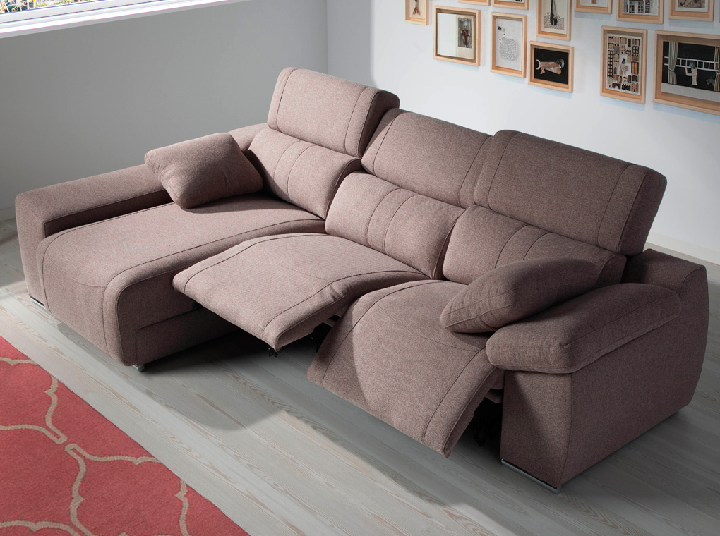 Chaise lounge sofa upholstered in fabric