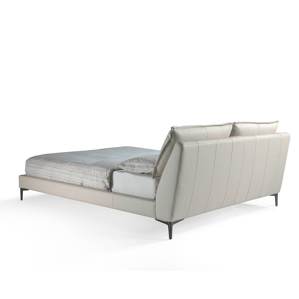 Upholstered bed with solid stainless steal frame
