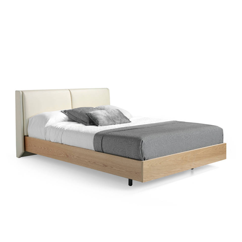 Bed manufactured in Oak plate with upholstered headboard