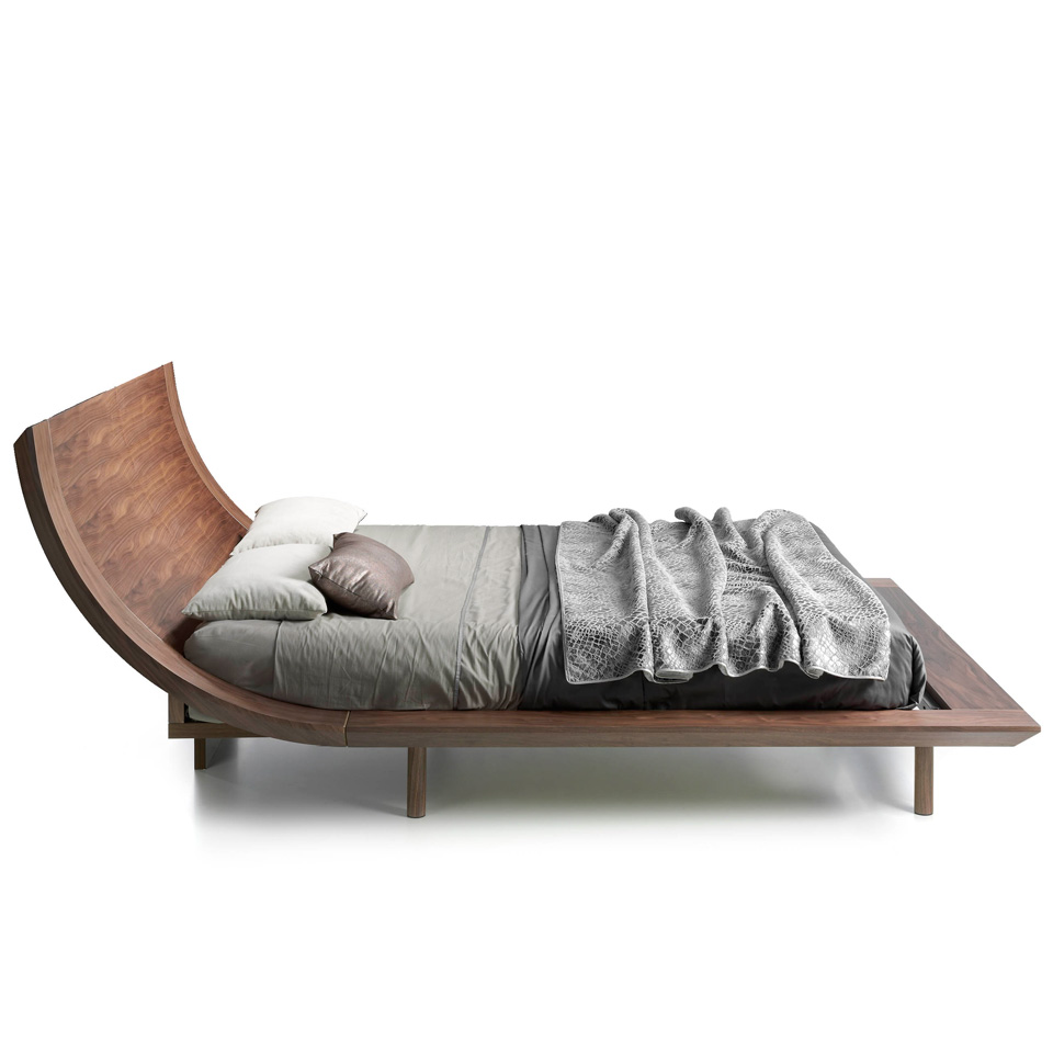 Wooden bed veneered in Nogal