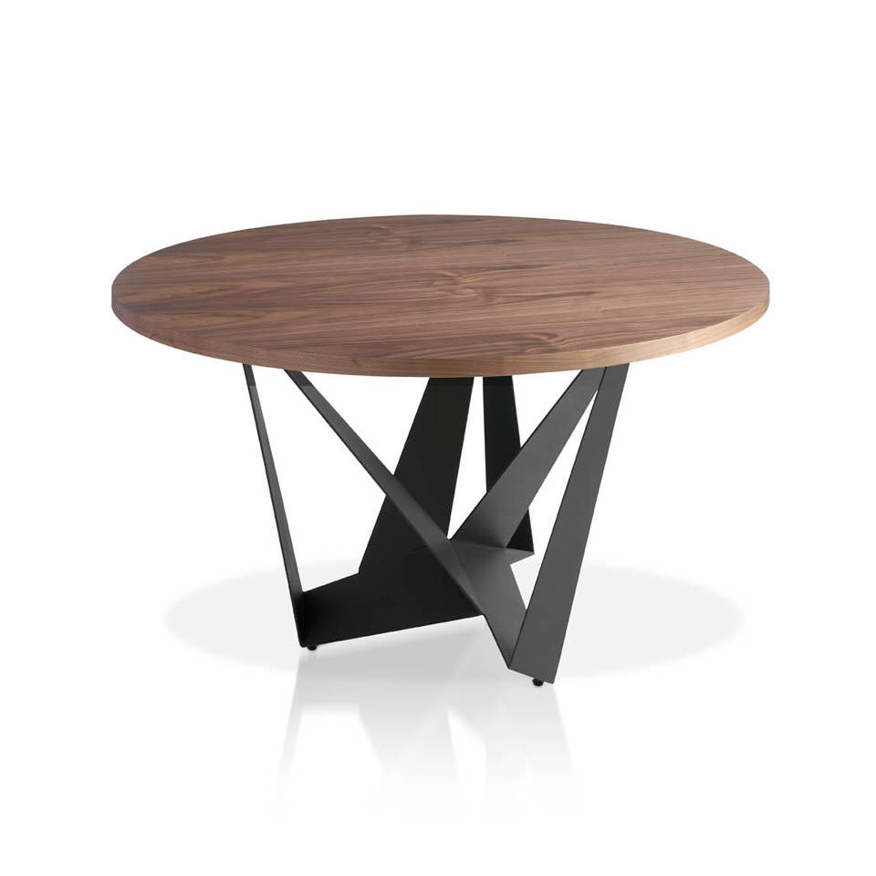 Dining table with round walnut top - Angel Cerdá, S L