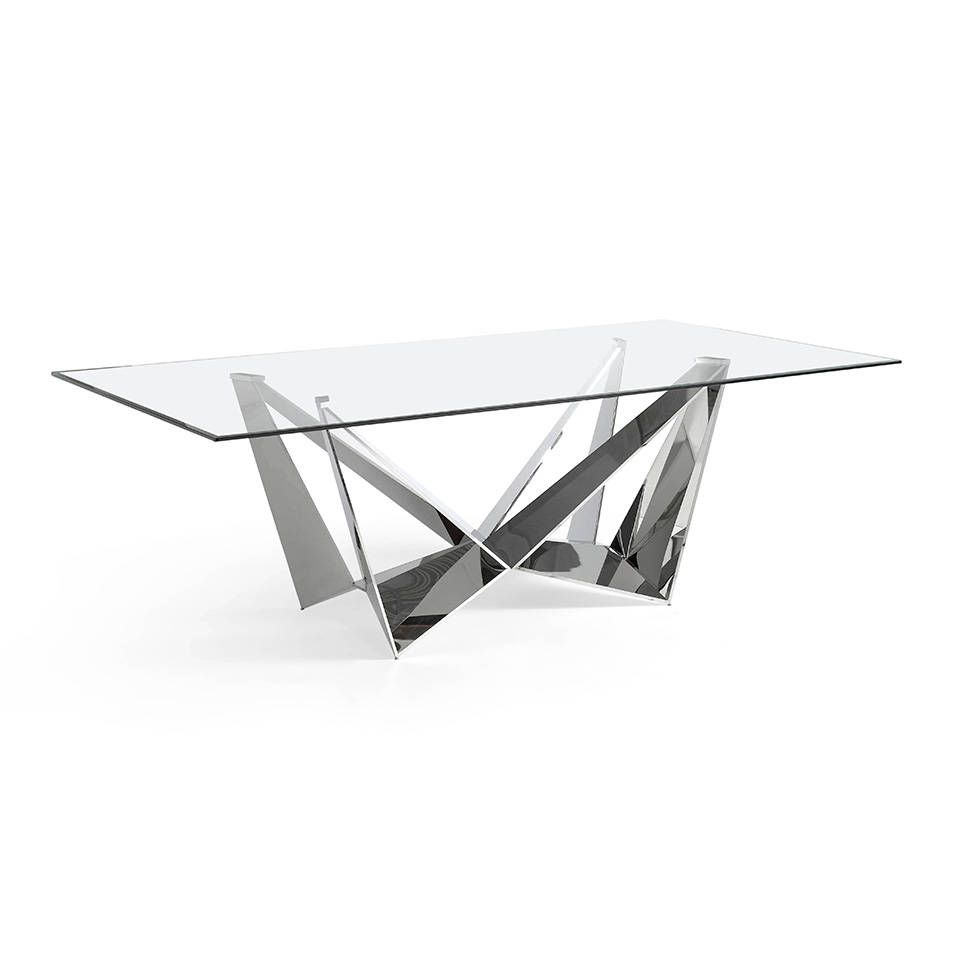 Stainless Steel Dining Table With Tempered Glass Cover