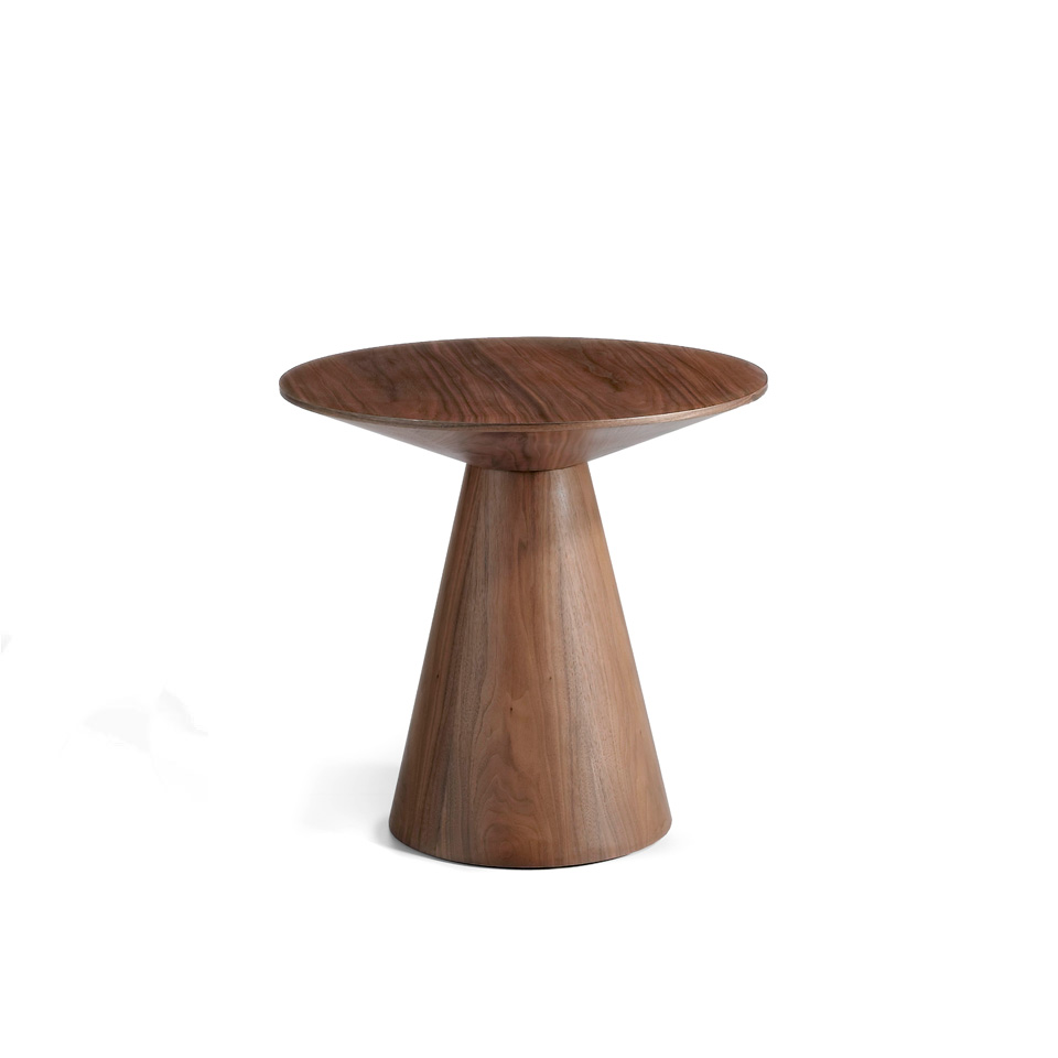 Corner table in veneered walnut