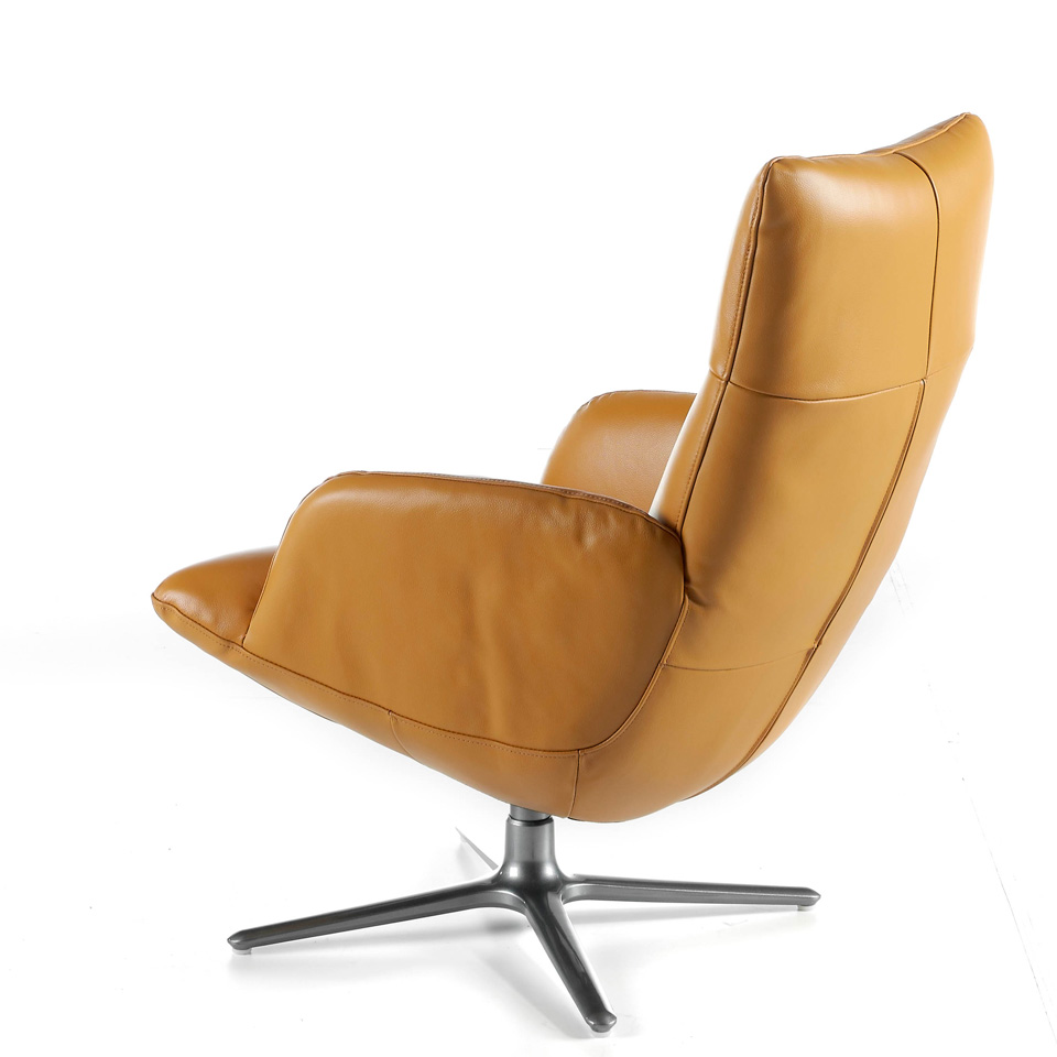 Swivel armchair upholstered in 2mm thick leather with stainless steel base