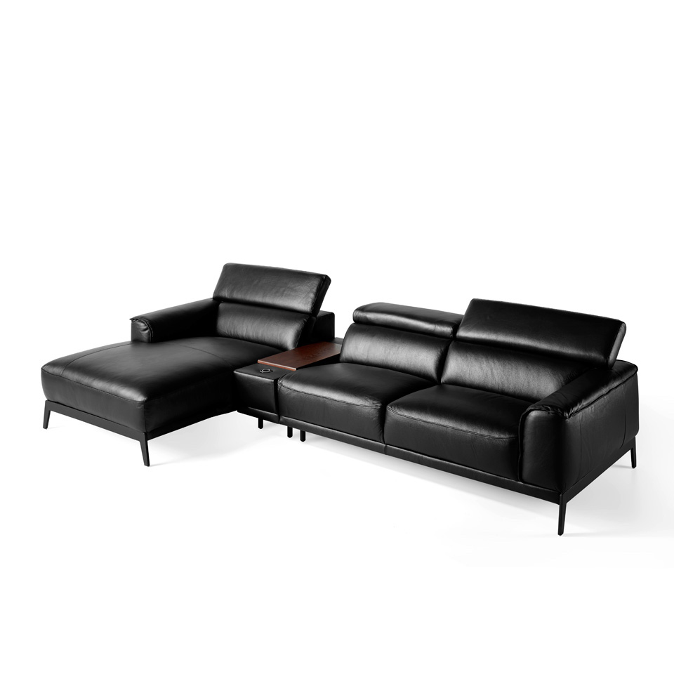 Chaise lounge sofa upholstered in leather with...