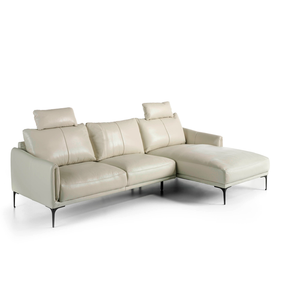 Sofa Chaise longue upholstered in leather with removable headrest