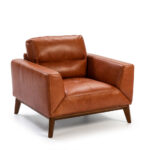 Armchair made of 2mm thick leather and legs structure in walnut wood