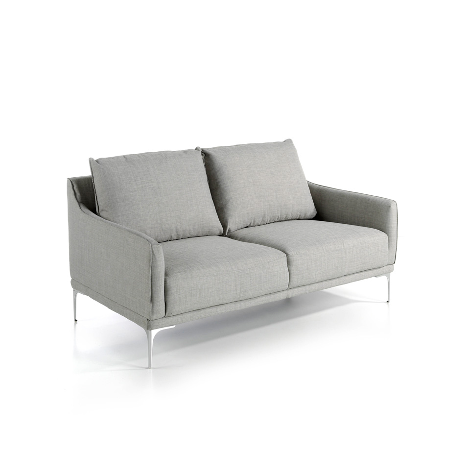 2 seater sofa upholstered in fabric with stainless steel legs