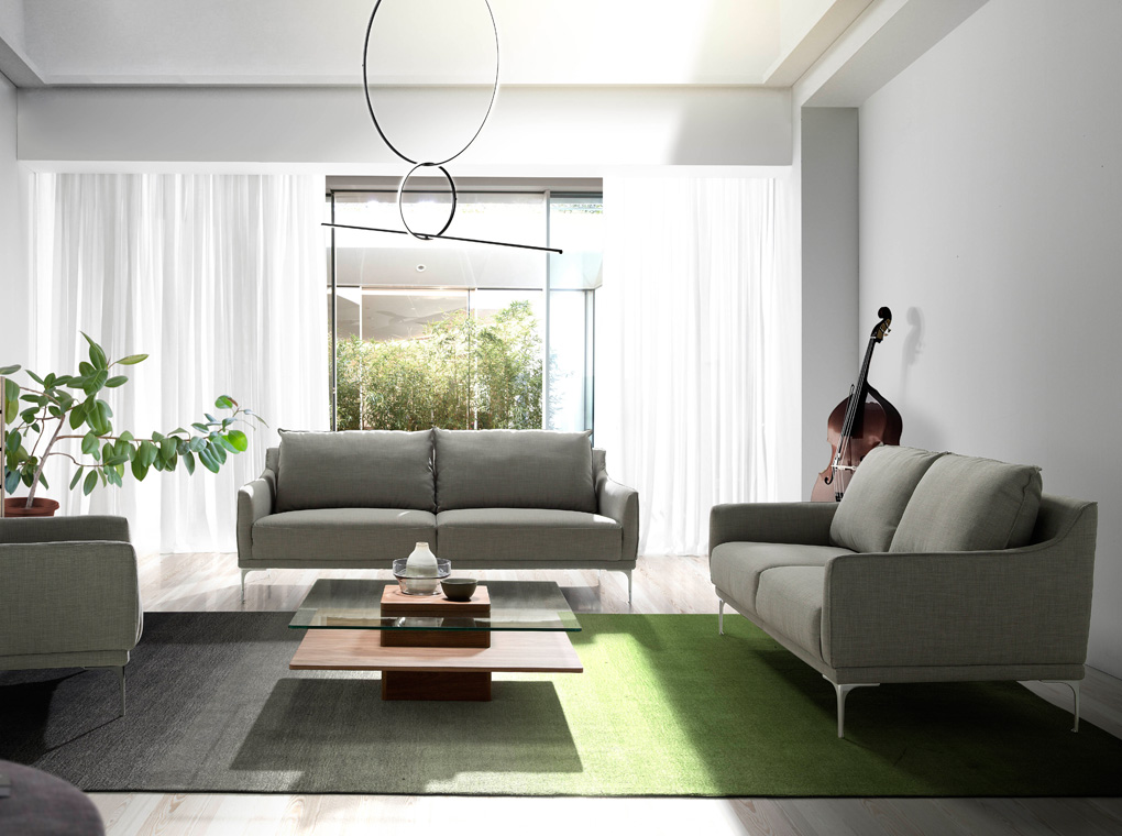 3 seater upholstered fabric sofa with stainless steel legs