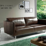 2 seat leather upholstered sofa with stainless steel legs