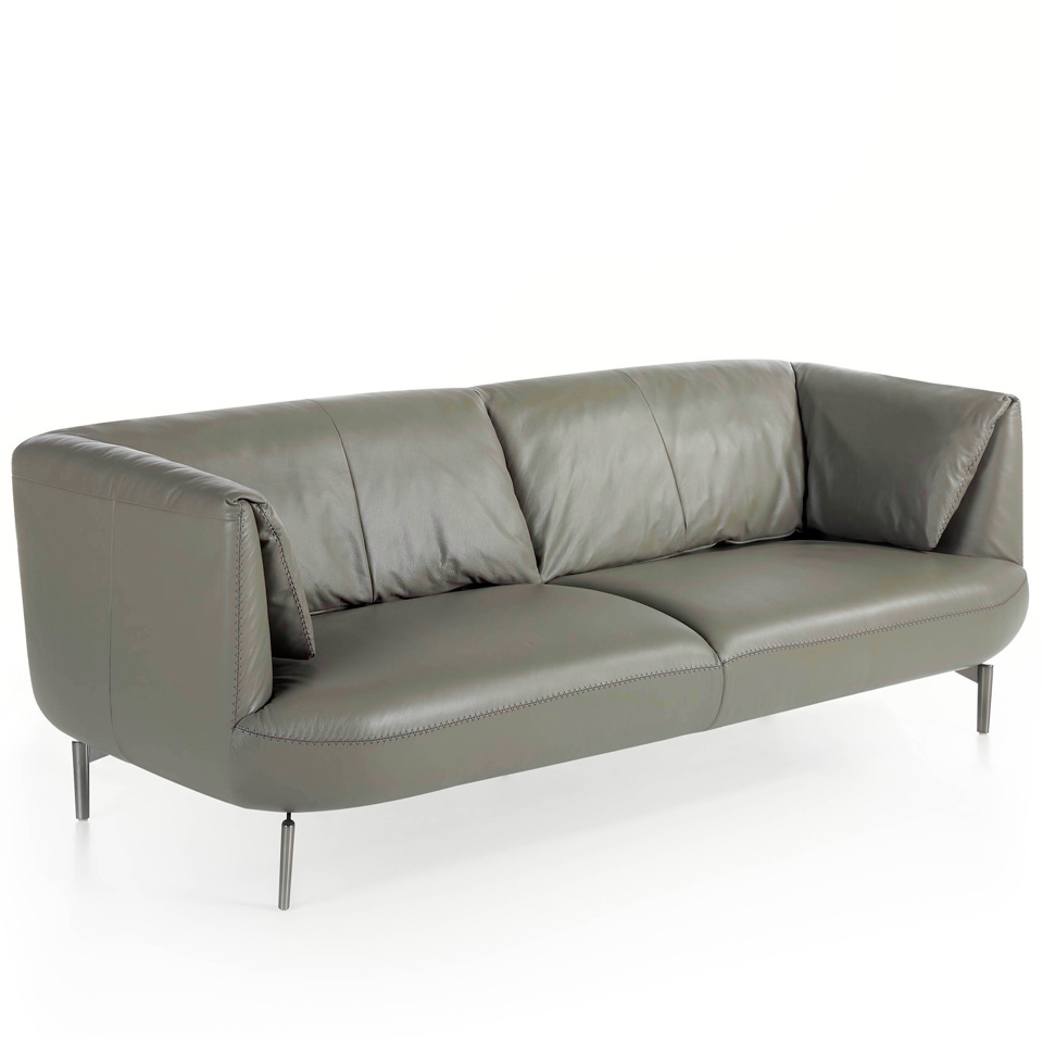 3 seat sofa leather upholstered with polished steel...