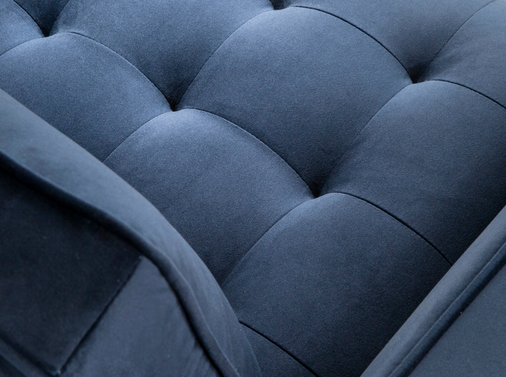 3 seat sofa leather upholstered with polished steel legs