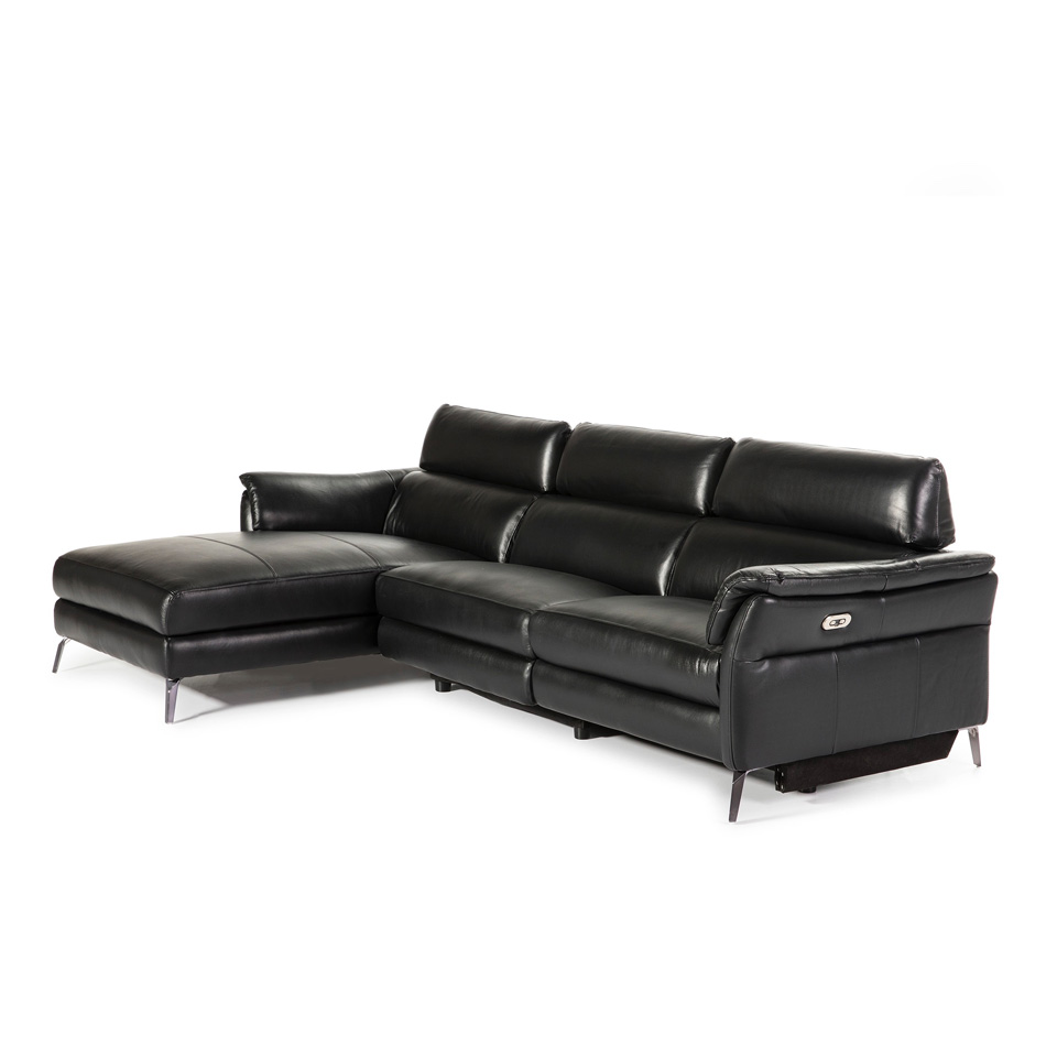 Chaise longue Sofa upholstered in leather with folding electric relax mechanism