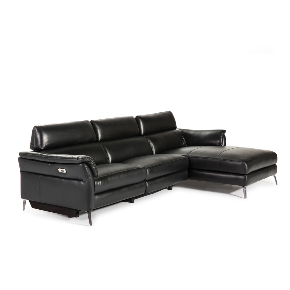 Chaise longue Sofa upholstered in leather with folding...