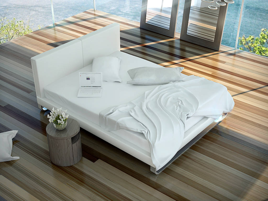 Upholstered bed with solid stainless steel frame