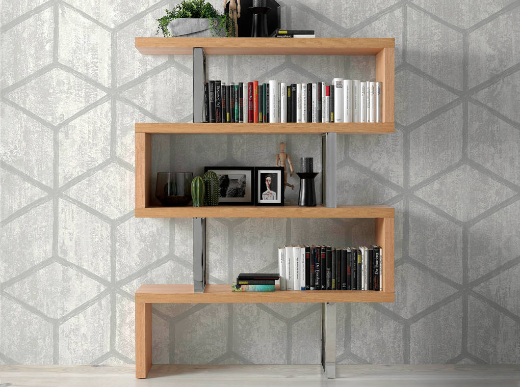 Oak Wood Plated Bookshelf With Stainless Steel Structure