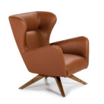 Swivel upholstered armchair in synthetic leather with walnut solid wood base