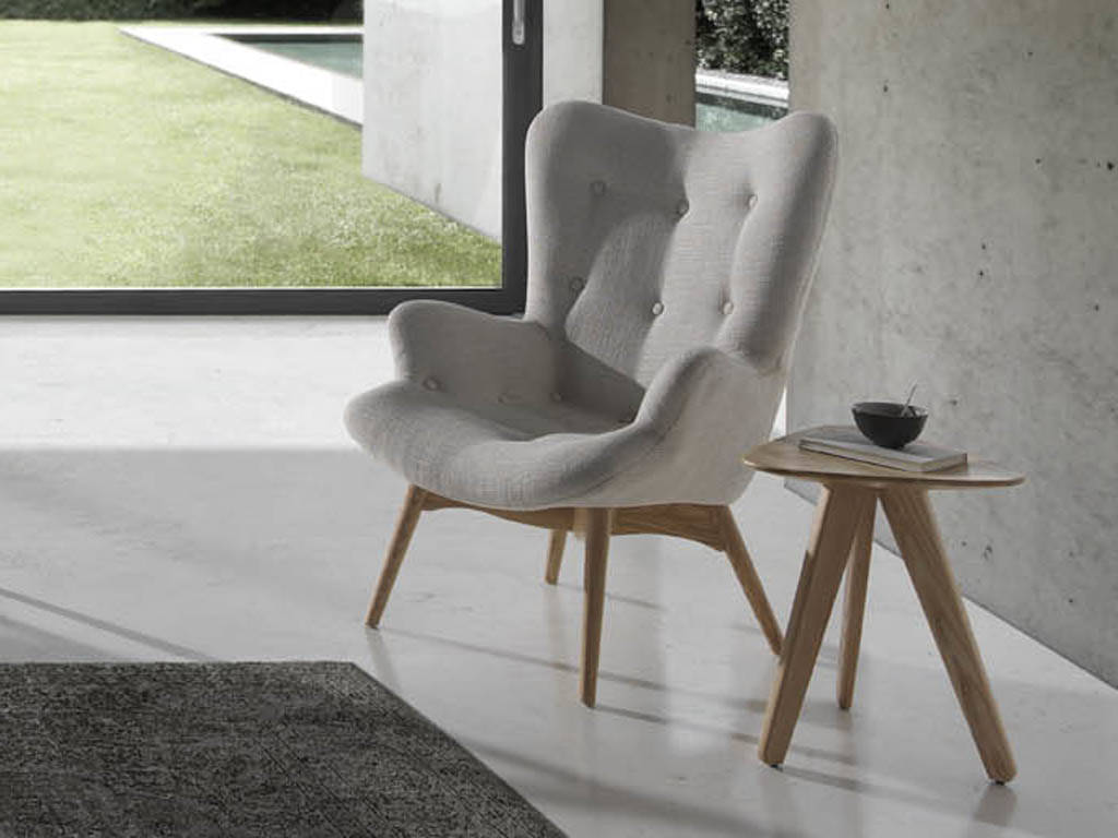 Solid ash wood armchair with upholstered seat.