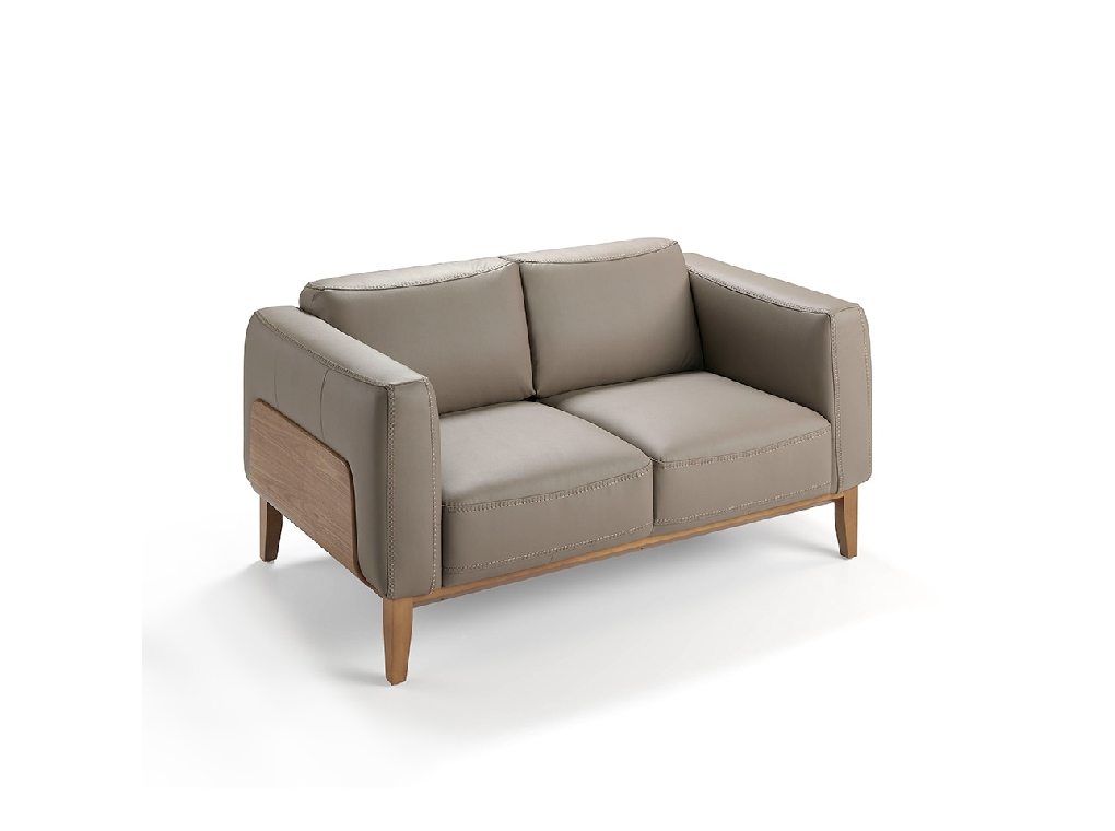 2-seat sofa upholstered in leather with a walnut wood structure