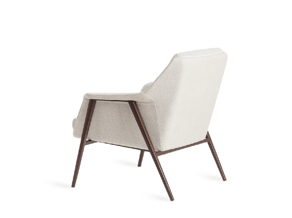 Armchair upholstered in fabric with steel structure