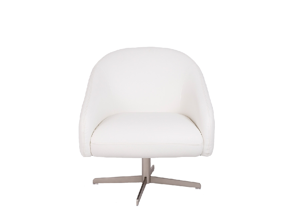 Upholstered armchair with polished stainless steel frame.