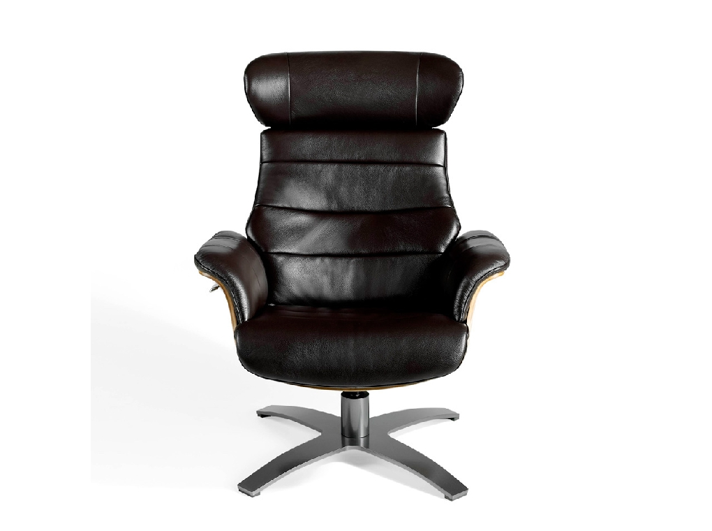 Swivel relax armchair upholstered in cowhide