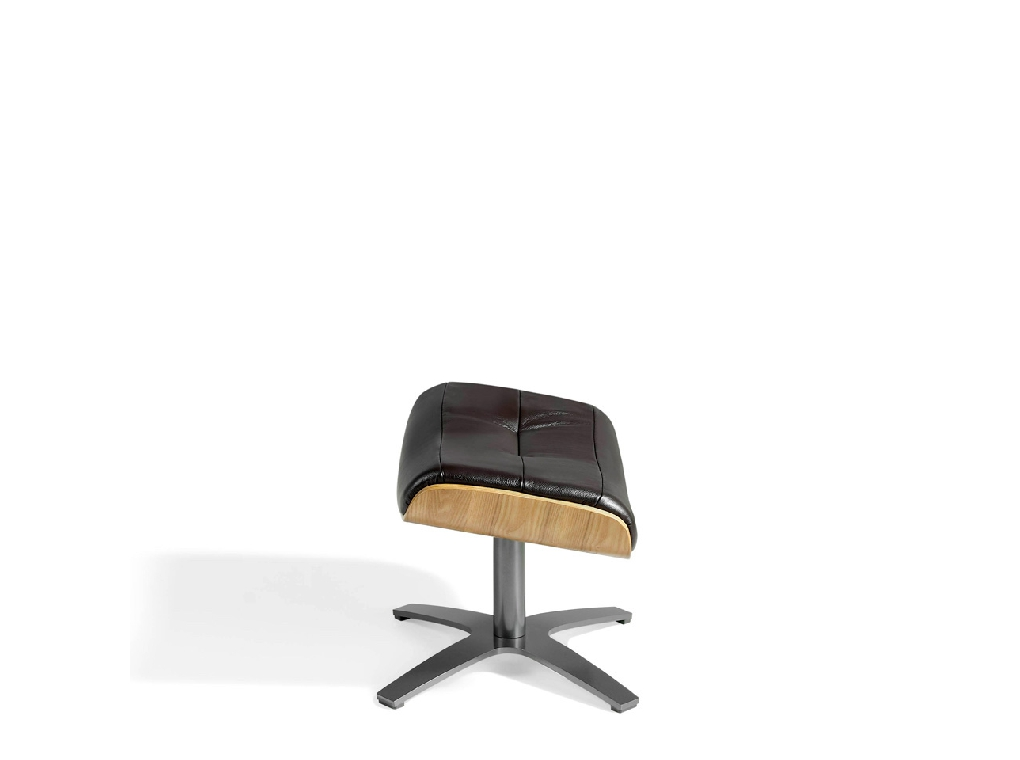 Swivel ottoman upholstered in cowhide