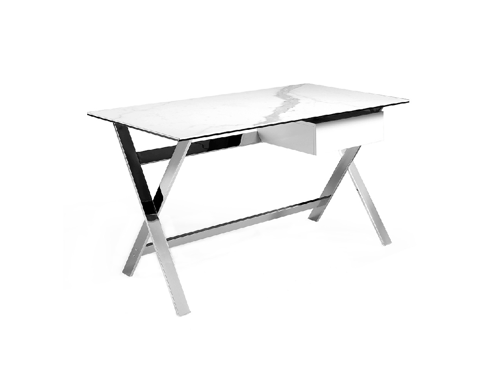 Office Desk With White Porcelain Marble Coverand Stainless Steel Structure