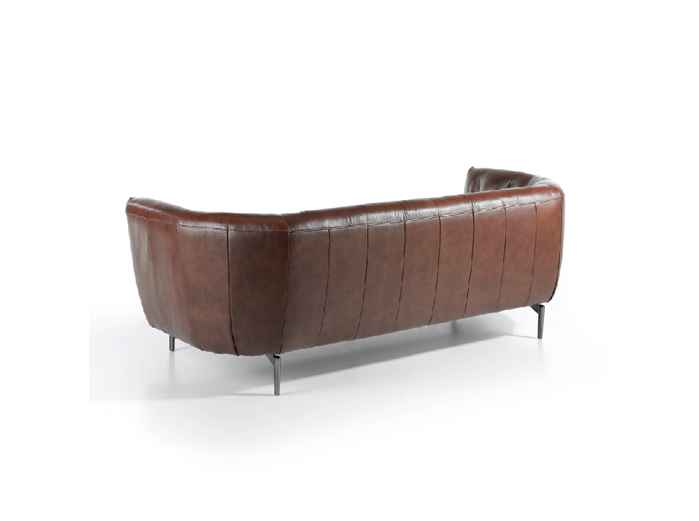 3 seat leather upholstered sofa with stainless steel legs