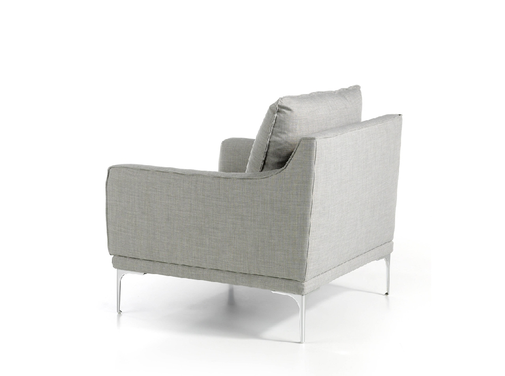 Upholstered fabric armchair with stainless steel legs